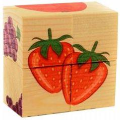 """Кубики Русские деревянные игрушки """"Фрукты"""" от 1 года 4 шт Д479а"""