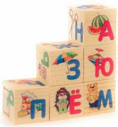 """Кубики Русские деревянные игрушки """"Азбука"""" 6 шт. Д489а"""