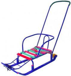 Санки R-Toys Считалочка Семерка с большими колесами до 35 кг металл синий Т5ЮК