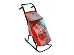 Санки-коляска RT Снегурочка 2-Р Собачка до 50 кг сталь серый красный