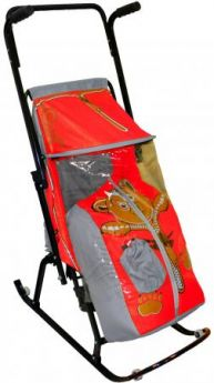 Санки-коляска RT Снегурочка 4-Р Медвежонок с 4 колесиками до 50 кг дюспо металл серый красный