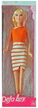 "Кукла Defa Lucy ""Модница"" в бело-оранжевом платье 8316stripe"