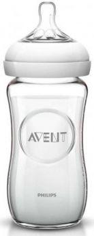 Бутылочка Avent Natural Стекло, 240 мл, сил. соска, медл. поток, 1+, 1 шт., арт. 81420