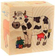 """Кубики Русские деревянные игрушки """"Домашние животные"""" 4 шт Д480а"""