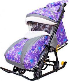 Санки-коляска R-Toys Snow Galaxy Luxe: Елки до 50 кг ткань искусственная кожа пластик фиолетовый Елки на фиолетовом на больших мягких колесах+сумка+муфта