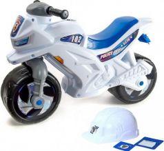 Каталка-мотоцикл двухколёсный RT беговел Racer RZ 1 Полиция белый со шлемом с музыкой 5 мелодий бело-синий ОР501в4