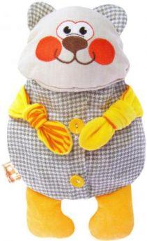 Мягкая игрушка-грелка медведь МЯКИШИ Доктор Мякиш-Мишутка 31 см серый желтый текстиль 178