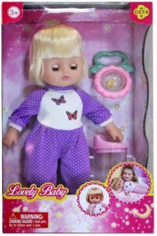 Кукла Defa Luсy Любимый малыш, 29 см, в  сиренев.  костюме, с аксесс., кор. 5063/purple
