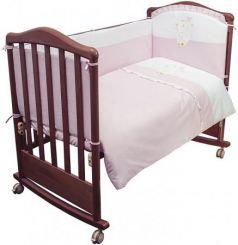 Комплект в кроватку 3 предмета Сонный Гномик Пушистик (розовый)