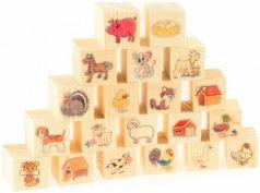 Кубики Русские деревянные игрушки На ферме 20 шт Д155d
