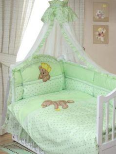 Комплект в кроватку Золотой Гусь Мишка-Царь (зеленый)