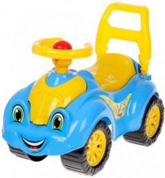 Каталка-машинка ТехноК Автомобиль для прогулок пластик от 1 года на колесах желто-голубой 3510