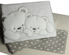 Сменный комплект постельного белья 3 предмета 125х65см Lepre Sweet Bears (цвет 23 серый-горох)