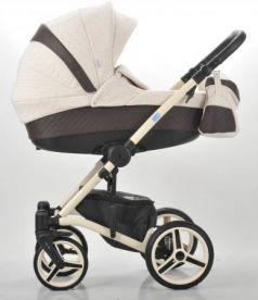 Коляска 3-в-1 Mr Sandman West-East Premium (50% кожа/коричневый перфорированный - бежевый в принт/CH13)