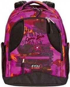 Рюкзак ортопедический 4YOU Compact Камуфляж 26 л черный розовый 112901-535