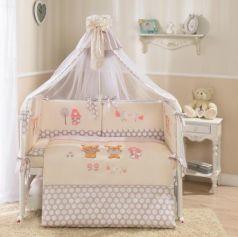 Сменное постельное белье 3 предмета Перина Венеция Лапушки (бежевый)