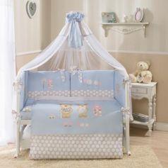 Сменное постельное белье 3 предмета Перина Венеция Лапушки (голубой)
