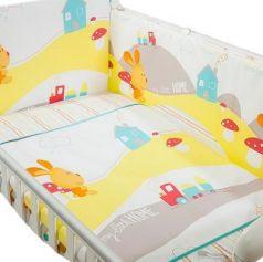 Сменное постельное белье 3 предмета Перина Кроха Веселый кролик (белый)