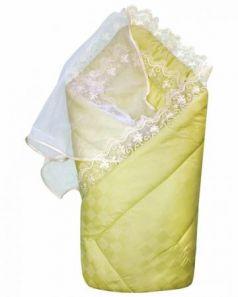 Конверт-одеяло на выписку Золотой Гусь (сатин-жакард/зелёный)