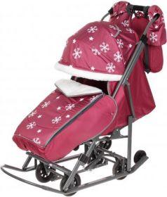 Санки-коляска PIKATE Снежинки до 45 кг ткань сталь малиновый (цвет рамы темно-серый)