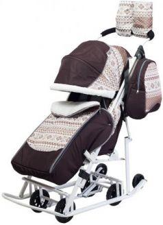 Санки-коляска PIKATE Скандинавия до 45 кг ткань сталь коричневый (цвет рамы темно-серый)