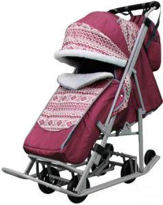 Санки-коляска PIKATE Скандинавия до 45 кг ткань сталь бордовый (цвет рамы темно-серый)