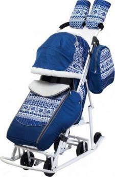 Санки-коляска PIKATE Скандинавия до 45 кг ткань сталь синий (цвет рамы темно-серый)