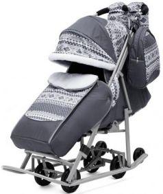 Санки-коляска PIKATE Скандинавия до 45 кг ткань сталь серый (цвет рамы темно-серый)