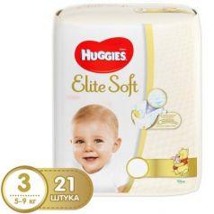 HUGGIES Подгузники Элит Софт 3 5-9кг 21шт