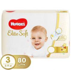 HUGGIES Подгузники Элит Софт 3 5-9кг 80шт