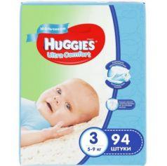 HUGGIES Подгузники Ultra Comfort Размер 3 5-9кг 94шт для мальчиков