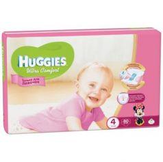 HUGGIES Подгузники Ultra Comfort Размер 4 8-14кг 80шт для девочек