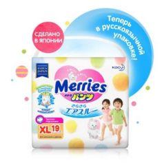 MERRIES Трусики-подгузники для детей большие 12-22 кг/19 шт