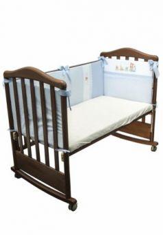 Бампер в кроватку Сонный Гномик Паровозик (голубой)