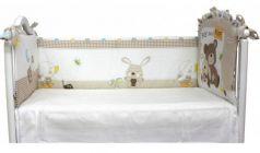 Бампер в кроватку Labeillebaby Мишка с зайкой