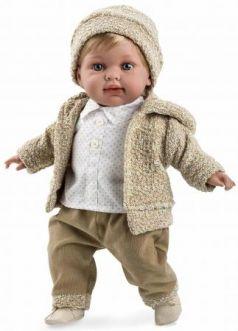 Кукла Arias Elegance - Мальчик в бежевом костюме с соской 42 см со звуком Т11130