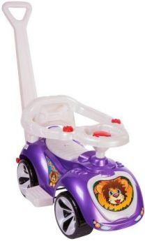 Каталка-машинка RT Мишка (LAPA) пластик от 10 месяцев с ручкой для родителей фиолетовый