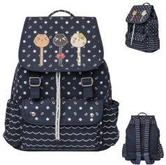 Рюкзак ACTION мягкий, разм.34х32х14,5 см, с принтом Кошки, темно-синий, д/девочек