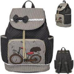 Рюкзак ACTION мягкий, разм.39х28х15 см, с принтом Велосипед, черный/с белым, д/девочек
