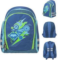 Рюкзак школьный DC Cоmics, разм.39x32.5x17см, уплот. спинка с рельеф. встав.,светоот.элем.,син,д/мал