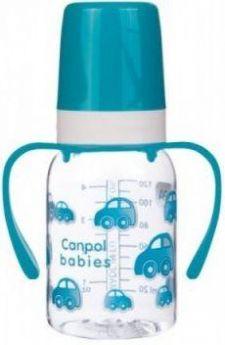 Бутылочка Canpol тритановая, с ручками, сил. соска, 3+ мес., 120 мл, арт. 11/821prz, бирюзовый