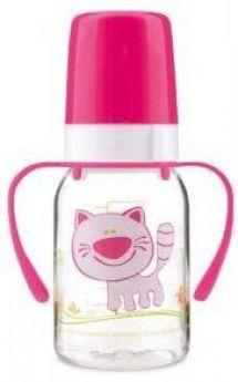 Бутылочка Canpol Cheerful animals трит., с ручк., с сил. соской, 120 мл, 3+, арт. 11/823prz, котенок