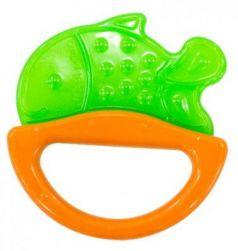 Погремушка с эластичным прорезывателем Canpol арт. 13/107, 0+ мес., цвет зеленый, форма рыбка