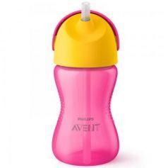 Контейнер Avent Чашка-поильник с трубочкой 1 шт от 9 месяцев розовый SCF798/02