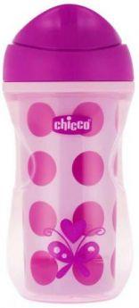 Чашка-поильник Chicco Active Cup (носик ободок), 1 шт., 14 +, 266 мл, 00006981100050, розовый/горох