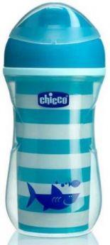 Чашка-поильник Chicco Active Cup (носик ободок), 14 +, 266 мл., 00006981200050, синий/акула