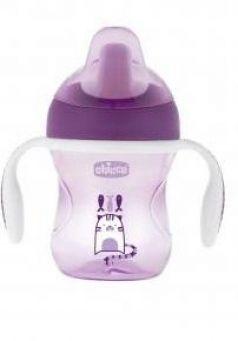 Поильник Chicco Training Cup (полужестк. носик), 1 шт., 6+, 200 мл, 00006921100050, фиолетовый