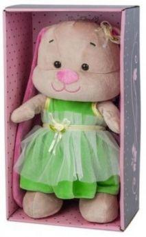 Мягкая игрушка заяц Jack Lin Зайка в Зеленом Платье 25 см искусственный мех трикотаж пластмасса