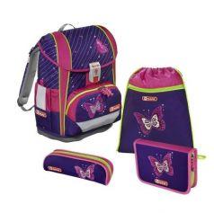 Ранец Step By Step Light2 Shiny Butterfly фиолетовый/розовый 4 предмета