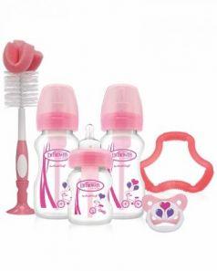 Набор из трех бутылочек противоколик. с широким горлышком, розовых (2шт. - 270 мл. + 1шт. - 150 мл.